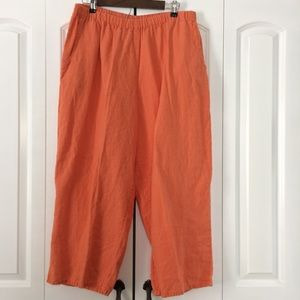 Boho Linen wide leg orange pants size large